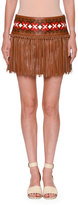 Valentino Knotted Fringe Leather Mini Skirt, Tan