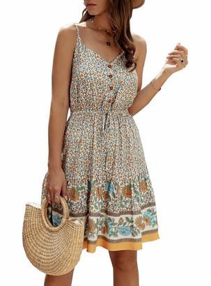 PRETTYGARDEN Womens Floral V Neck Spaghetti Strap Button Down Sundress Swing Ruffle Summer Mini Short Dress - beige - Small