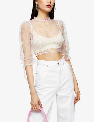 Topshop Floral-embroidered sheer mesh top