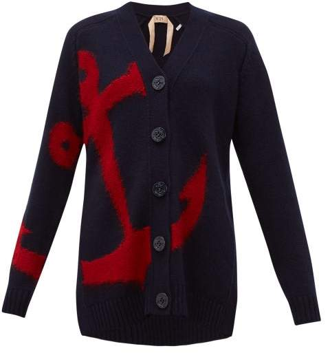 No.21 No. 21 - Anchor-intarsia Wool Cardigan - Womens - Navy Multi