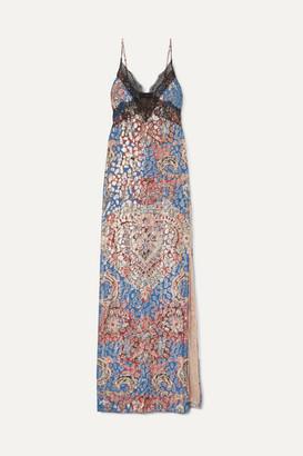 Dundas Lace-trimmed Printed Metallic Fil Coupe Silk-blend Chiffon Maxi Dress - Blue