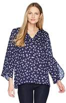 Chaus Women's Tulip Slv V-Neck Windsor Ditsy Blouse