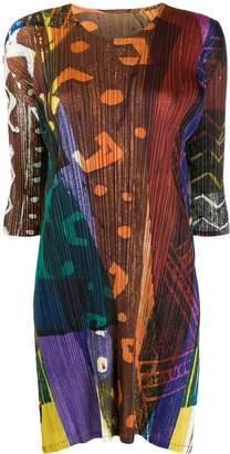 Pleats Please Issey Miyake contrast print plissé dress