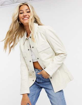 Muu Baa Muubaa pocket front leather shacket in cream