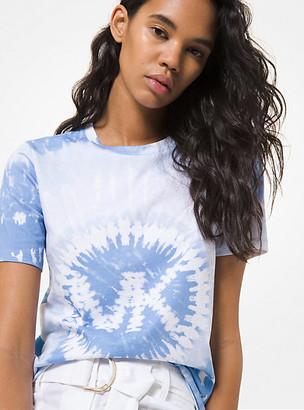 MICHAEL Michael Kors MK Tie Dye Logo Charm Cotton Jersey T-Shirt - Crew Blue - Michael Kors