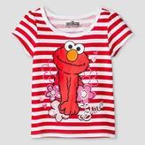 Sesame Street Toddler Girl's Elmo Short Sleeve T-Shirt - White