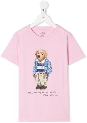Ralph Lauren Kids Preppy Bear-print cotton T-shirt
