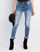 Charlotte Russe Refuge Frayed Hem Destroyed Skinny Jeans