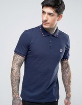 Pretty Green Elmwood Polo Stripe Tipping In Navy