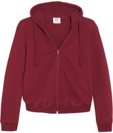 Vetements Cropped Embroidered Cotton-blend Hooded Sweatshirt - Claret