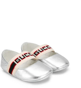 Gucci Kids logo strap ballerina shoes