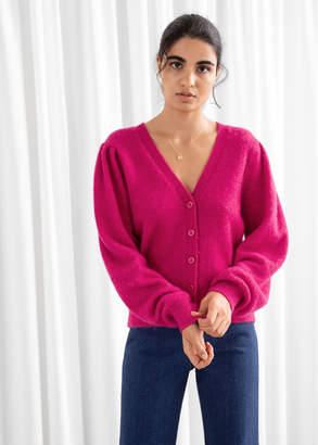 And other stories Wool Blend Puff Shoulder Cardigan