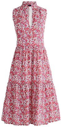 J.Crew Sleeveless Rebecca Dress in Liberty (Berry Multi) Women's Clothing