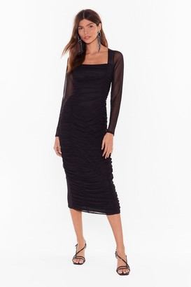 Nasty Gal Womens Mesh Behavior Ruched Midi Dress - black - 8