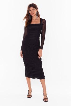 Nasty Gal Womens Mesh Behavior Ruched Midi Dress - Black