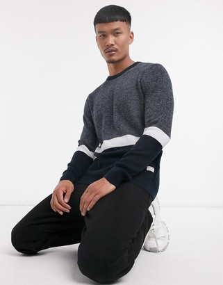 Jack and Jones Originals sweater in navy with white stripe