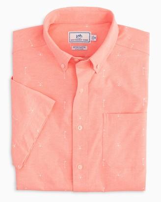 Southern Tide Cross Links Performance Short Sleeve Button Down Shirt