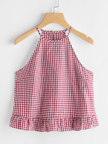 Shein Gingham Buttoned Keyhole Back Frill Halter Top
