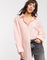 Weekday Edyn organic cotton poplin shirt in pink and white stripe