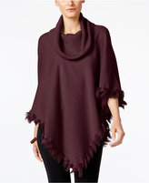 Alfani Faux-Fur-Trim Poncho Sweater, Only at Macy's
