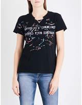 Valentino Ladies Black Printed Catwalk Chain-Embellished Cotton-Jersey T-Shirt