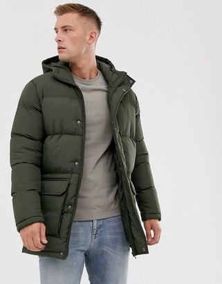 French Connection longline padded hooded parka-Green