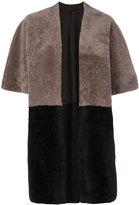 Giorgio Brato panelled kimono jacket - women - Cotton/Lamb Skin/Spandex/Elastane - 40