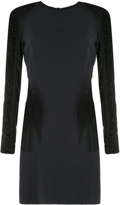 Dion Lee Fringed Long-Sleeve Mini Silk Dress