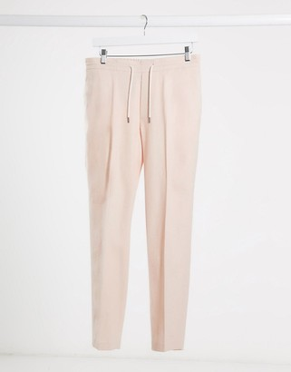 ASOS DESIGN skinny casual linen mix suit pants in pink