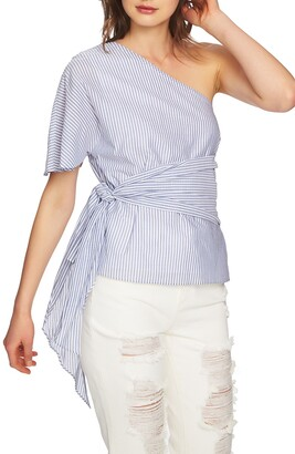 1 STATE One-Shoulder Wrap Waist Blouse