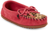 Minnetonka Toddler Girls) Hot Pink Leopard Print Calf Hair Moccasins