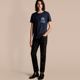 Burberry Cotton T-shirt with Peony Rose Print Pocket