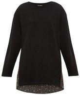 Junya Watanabe Floral-print Panel Wool Sweater - Womens - Black Multi