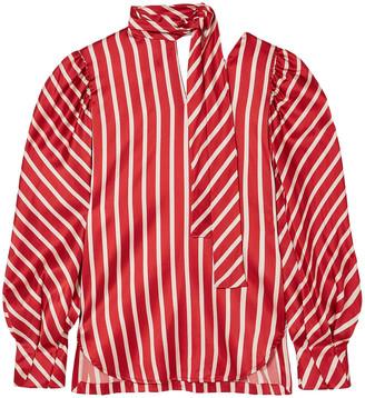 Silvia Tcherassi Juliette Tie-neck Striped Silk-blend Satin Blouse