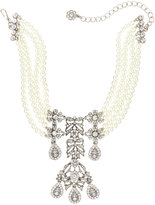 Kenneth Jay Lane Pearly Crystal Choker Statement Necklace, White