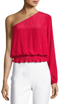 Ramy Brook Janey One-Shoulder Long-Sleeve Top, Red