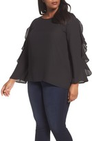 London Times Plus Size Women's Ruffle Bell Sleeve Blouse