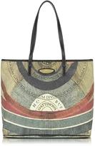 Gattinoni Planetarium Coated Canvas and Leather Medium w/Zip Tote