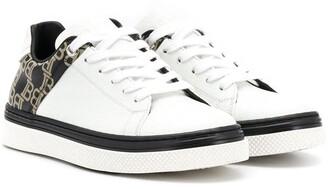 Balmain Kids low top monogram print sneakers