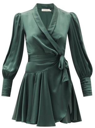 Zimmermann Bishop-sleeve Silk Wrap Mini Dress - Green