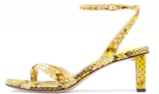 Alexandre Birman Nelly Square Exotic Heel in Mellow Yellow