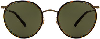 Oliver Peoples Casson Sunglasses in Antique Gold & Dark Mahogany | FWRD