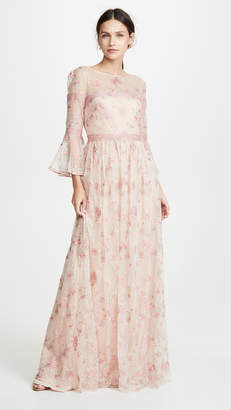 Marchesa Flounce Sleeve Embroidered A-Line gown
