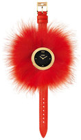 Fendi 36mm My Way Watch w/Removable Fur Glamy, Red