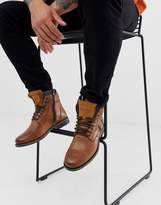 Levi's emmerson leather boots with denim detail in brown