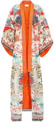 Camilla Crystal-embellished Embroidered Printed Silk-jacquard Kimono
