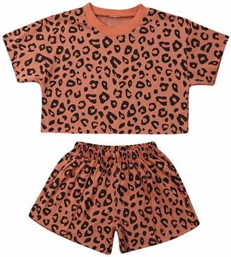 Frobukio Toddler Baby Girls Leopard Print Summer Clothes Set T-Shirt and Short Kids 2pcs Outfits (Pink 1-2 Years)
