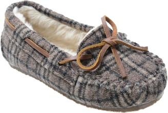Minnetonka Children's Cassie Brown Plaid Moc Slippers
