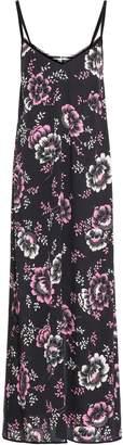 McQ Velvet-trimmed Floral-print Crepe De Chine Maxi Slip Dress