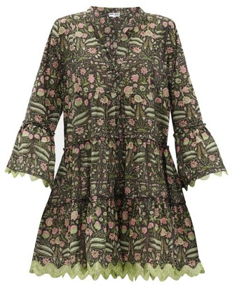 Juliet Dunn Rickrack-trim Floral-print Cotton-poplin Dress - Womens - Green Multi